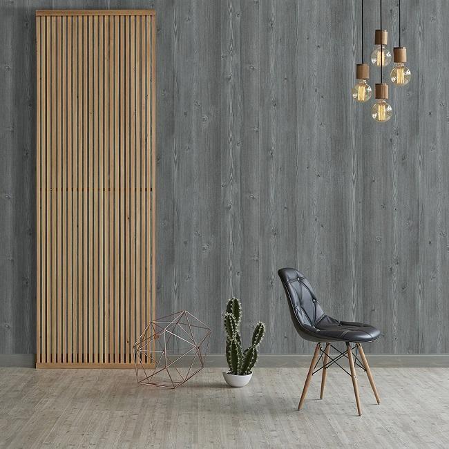 Giấy dán tường Hàn Quốc họa tiết vân gỗ sần sang trọng, tinh tế