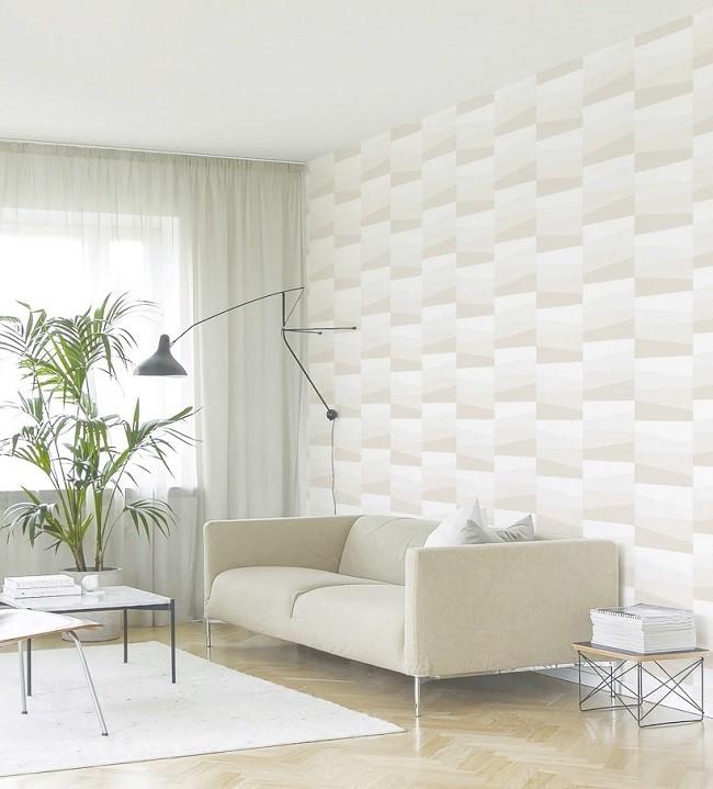 Mẫu giấy dán tường hoa văn hiện đại nhưng đơn giản sẽ tạo điểm nhấn nhẹ nhàng cho không gian phòng khách