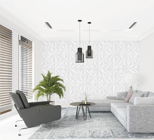 Giấy dán tường màu trắng rất phù hợp với không gian nhỏ hẹp. Phối hợp hài hòa với đồ nội thất sẽ tôn lên vẻ sang trọng, đẳng cấp cho ngôi nhà